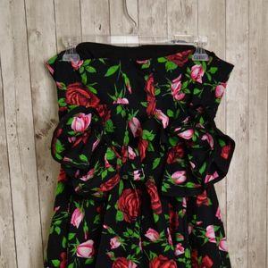 BETSEY JOHNSON Blk/Floral Rose Strapless Dress S10